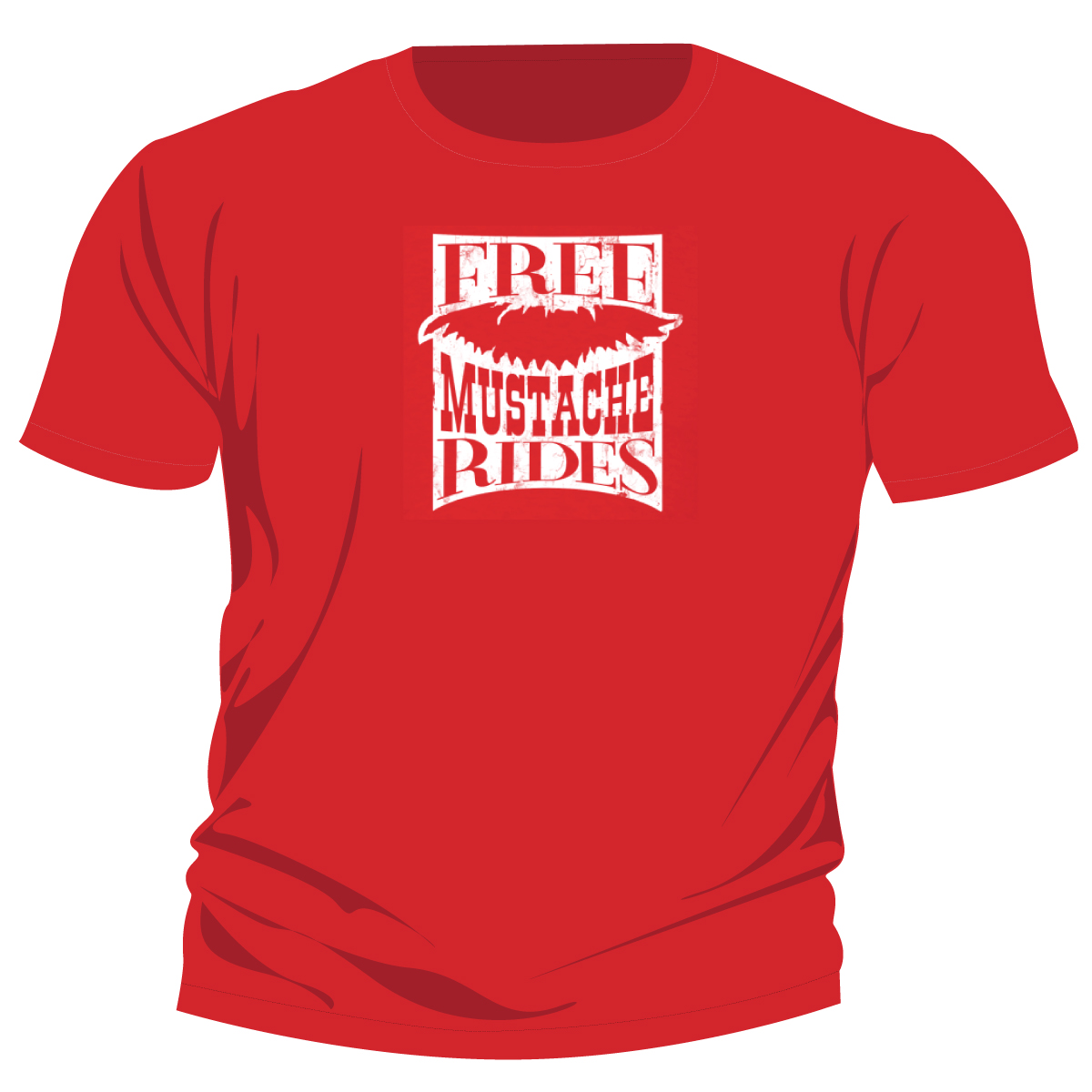 2010 Shirt Design: Red Free Mustache Rides